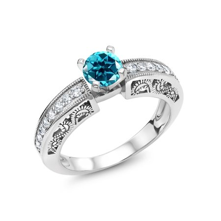 925 Sterling Silver Solitaire Ring Set with Round Paraiba Topaz from Swarovski