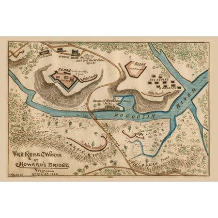 Shows The Fortifications Of The Confederate Forces At Howards Bridge On The Banks Of The Poquoson River Which Succeeded In Slowing Mcclellans Advance Up The Peninsula Poster Print By Unknown