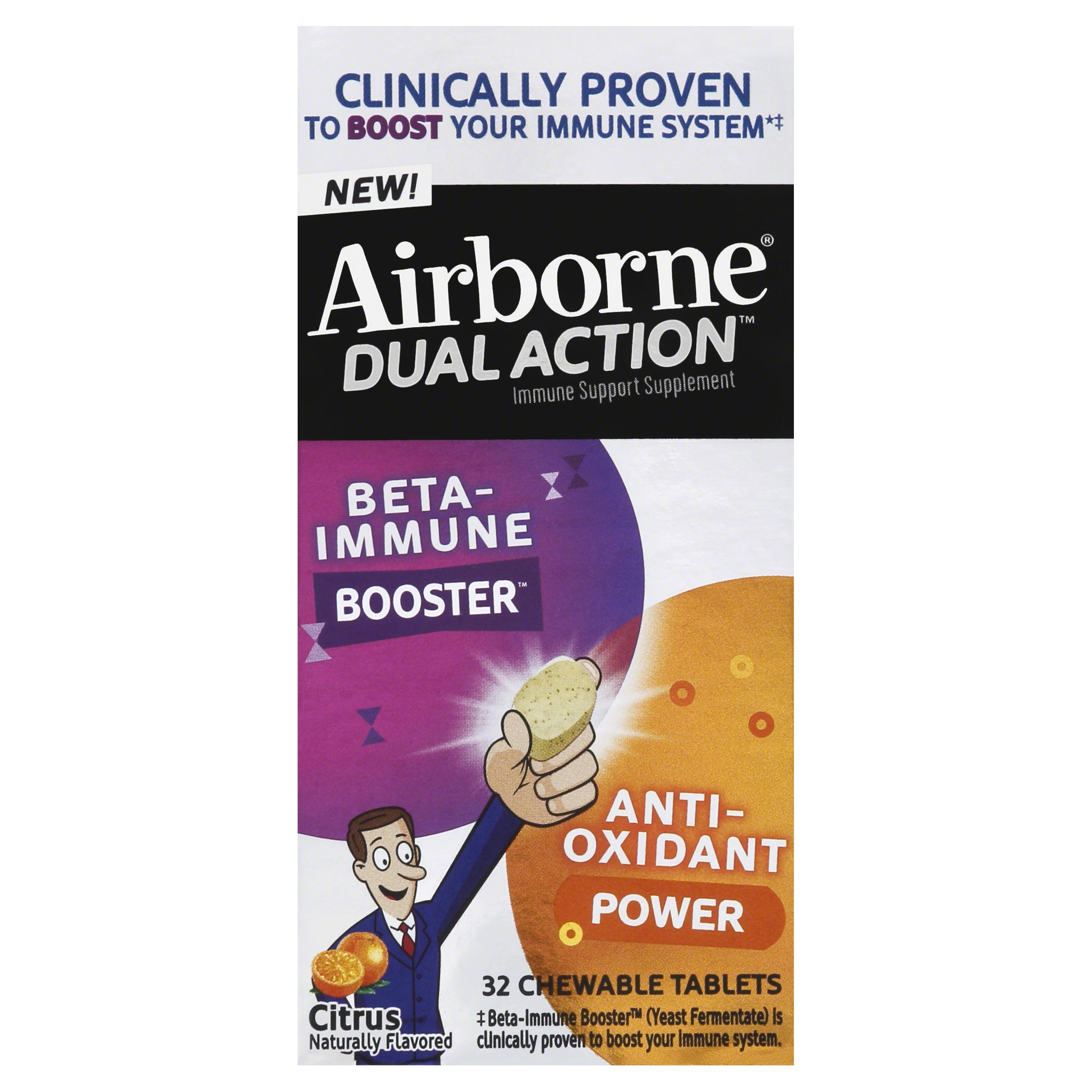 Airborne Dual Action Citrus Chewable Tablets, 32ct - 500mg of Vitamin C & Beta Immune Booster