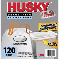 Husky Tall Kitchen Trash Bags, 13 Gallon, 120 Bags (Expandable Drawstring)