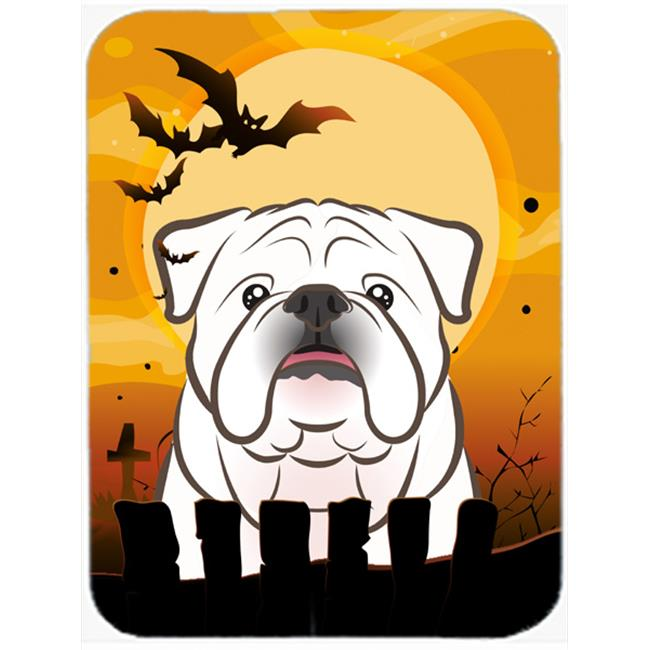 Halloween White English Bulldog Mouse Pad, Hot Pad & Trivet
