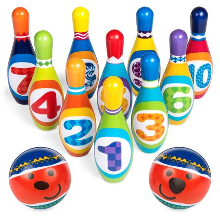Best Choice Products Kids Multicolor Soft Lightweight Foam Bowling Toy Set for Learning, Development, Fun w/ 10 Numbered Pins, 2 Balls, Carrying Case](Giant Bowling Pins)