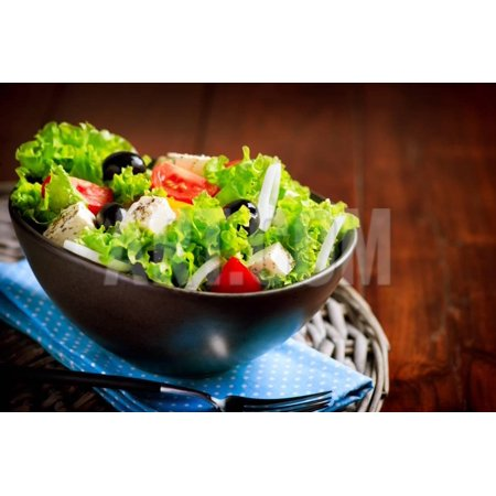 Greek Salad. Mediterranean Salad with Feta Cheese, Tomatoes and Olives. Healthy Fresh Vegetarian Fo Print Wall Art By Subbotina