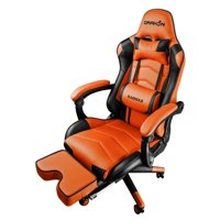 Drakon DK709 Gaming Chair Ergonomic Racing Style Pu Leather Seat, Headrest with Foldable Foot/Leg Rest ORANGE