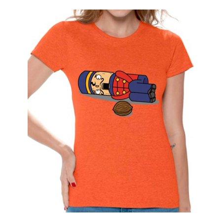e0c27db623 Awkward Styles Nutcracker Ugly Christmas T-Shirt Funny Christmas Shirts for Women  Christmas Nutcracker Shirt Xmas Women's Holiday Top for Christmas Party