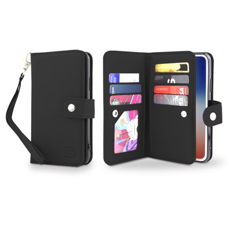 Gear Beast iPhone XS MAX Wallet Case, Flip Cover Dual Folio Case for iPhone XS MAX Slim PU Leather Case 7 Slot Card Holder ID Holder Inner Pockets Wristlet For Men and Women