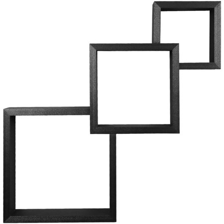 Sobus Floating Shelves - Three Squared Hanging Wall Shelves, For Photos, Decorative Items, and Much More (Black)