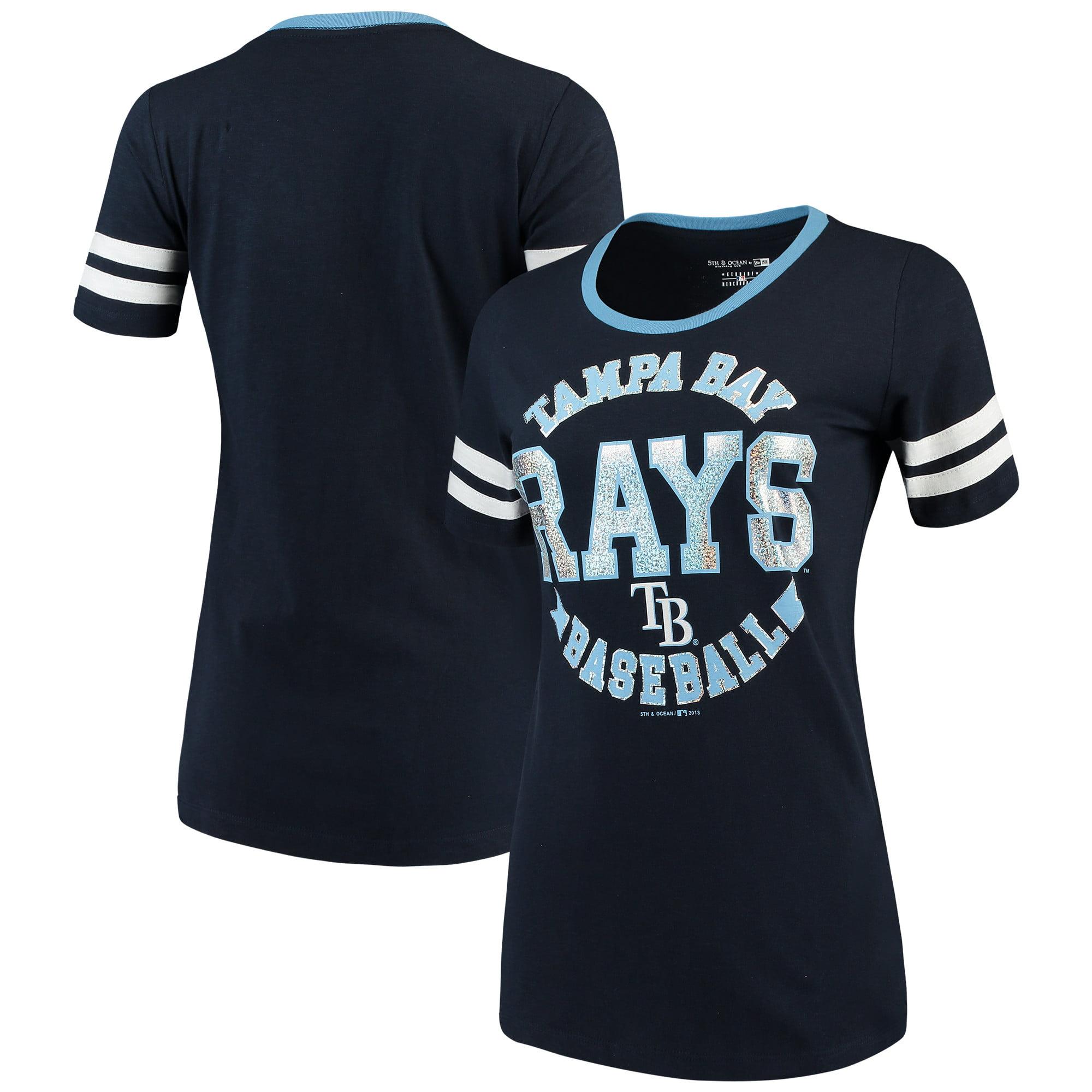 Tampa Bay Rays 5th & Ocean by New Era Women's Slub Jersey Scoop Neck Sleeve Stripes T-Shirt - Navy