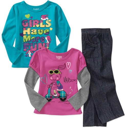 Garanimals Baby Girls' 3-Piece Graphic Tee and Ruffle Pant Set