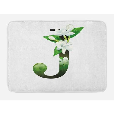 Letter J Bath Mat, Abstract Floral Arrangement J Silhouette and Jasmine Blossoms ABC Concept, Non-Slip Plush Mat Bathroom Kitchen Laundry Room Decor, 29.5 X 17.5 Inches, Green White Black, Ambesonne