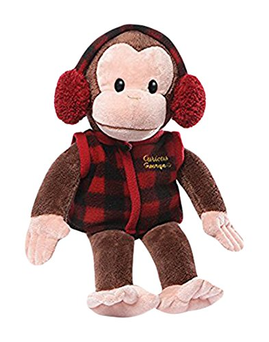 In Plaid Vest Stuffed Animal Plush, Plush Curious George dressed in red check vest and matching earmuffs By... by Curious George