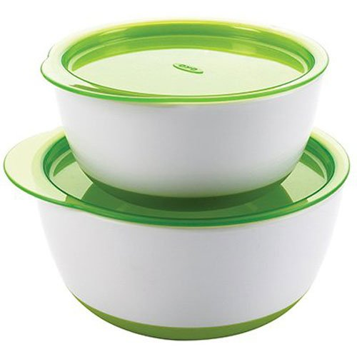 OXO Tot Small & Large Bowl Set with Snap On Lids (Green)