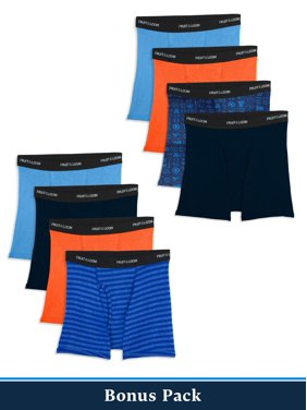 Fruit of the Loom Assorted Cotton Boxer Brief Underwear, 5+3 Bonus Pack (Little Boys & Big Boys)