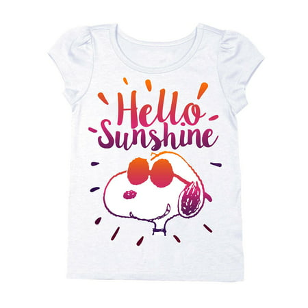 Snoopy Hello Sunshine Short Sleeve Puff Tee (Toddler Girls)](Snoopy Halloween Shirt)