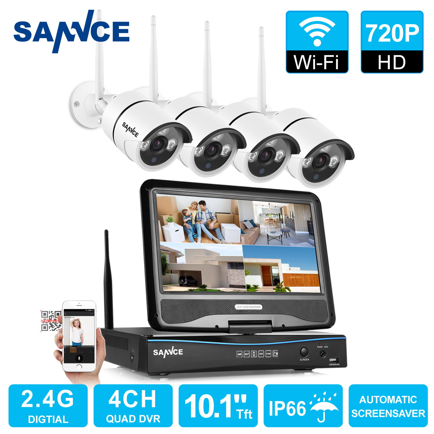SANNCE 4CH 720P WIFI CCTV System HDMI NVR With 10.1'' LCD Screen 4PCS 1.0 MP IR Outdoor P2P Wireless IP Camera Security System Surveillance Kit(0-NO HDD,1-1TB HDD)
