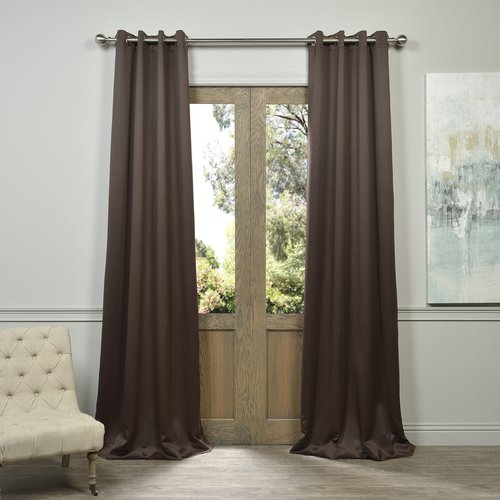 Exclusive Fabrics Grommet Java Designer Blackout Curtain Panel Pair (96-inch), Brown (Polyester, Solid)