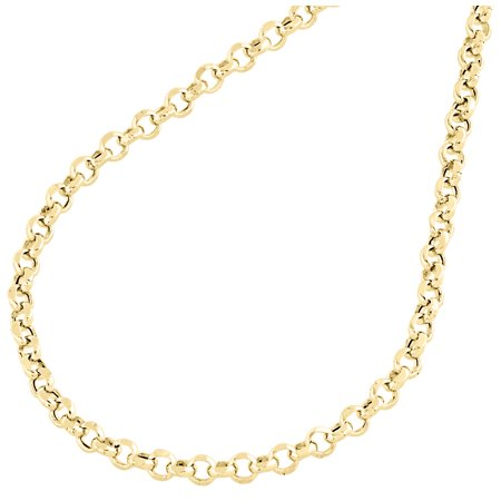 Real 10K Yellow Gold Open Circle Rolo Link Chain 3.35mm Necklace 22 Inches