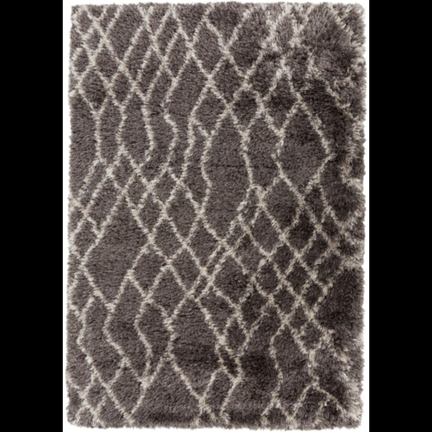 5' x 8' Nearly Diamond Dark Brown and Cream Hand Woven Wool Area Throw Rug