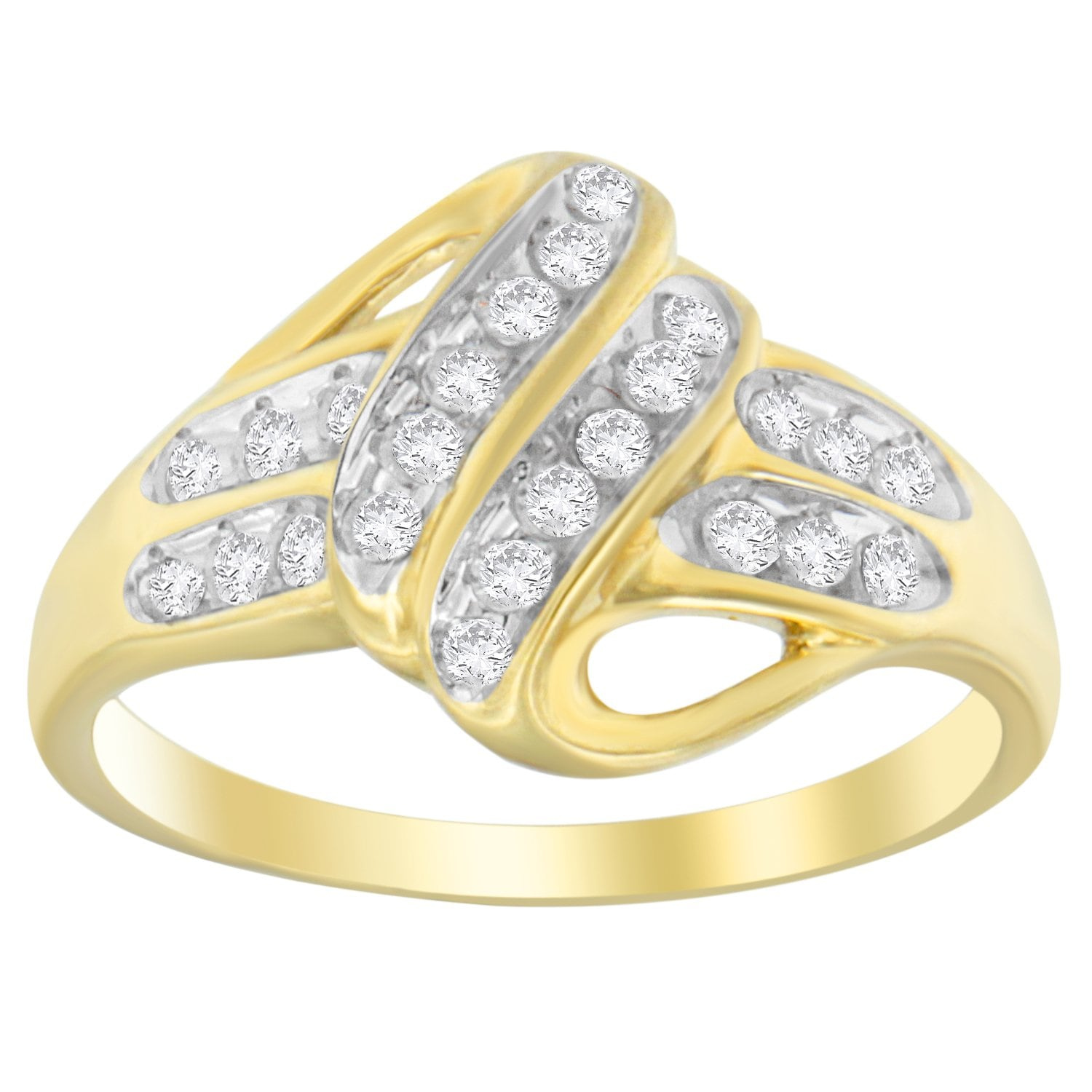 VJG 10k Yellow Gold-Plated Sterling Silver 1/4 ct. TDW Diamond Cross-Over Ring (I-J, I2-I3)