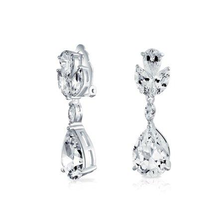 Bridal Cubic Zirconia AAA CZ Pear Shape Teardrop Drop Dangle Clip-On Earrings For Women For Prom Silver Plated