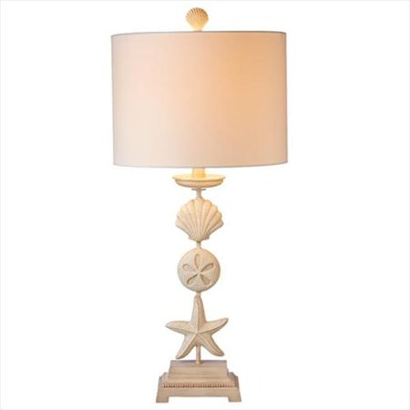 Pack Of 2 Beige Stacked Starfish Sand Dollar And Seashell Table Lamps 21 5