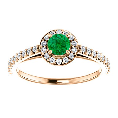 Brilliant Cut Emerald Cubic Zirconia in 14K Rose Gold - image 1 of 8