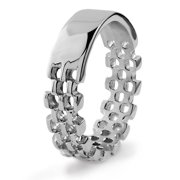 Coastal Jewelry Polished ID Bracelet Themed Stainless Steel Ring (6mm)