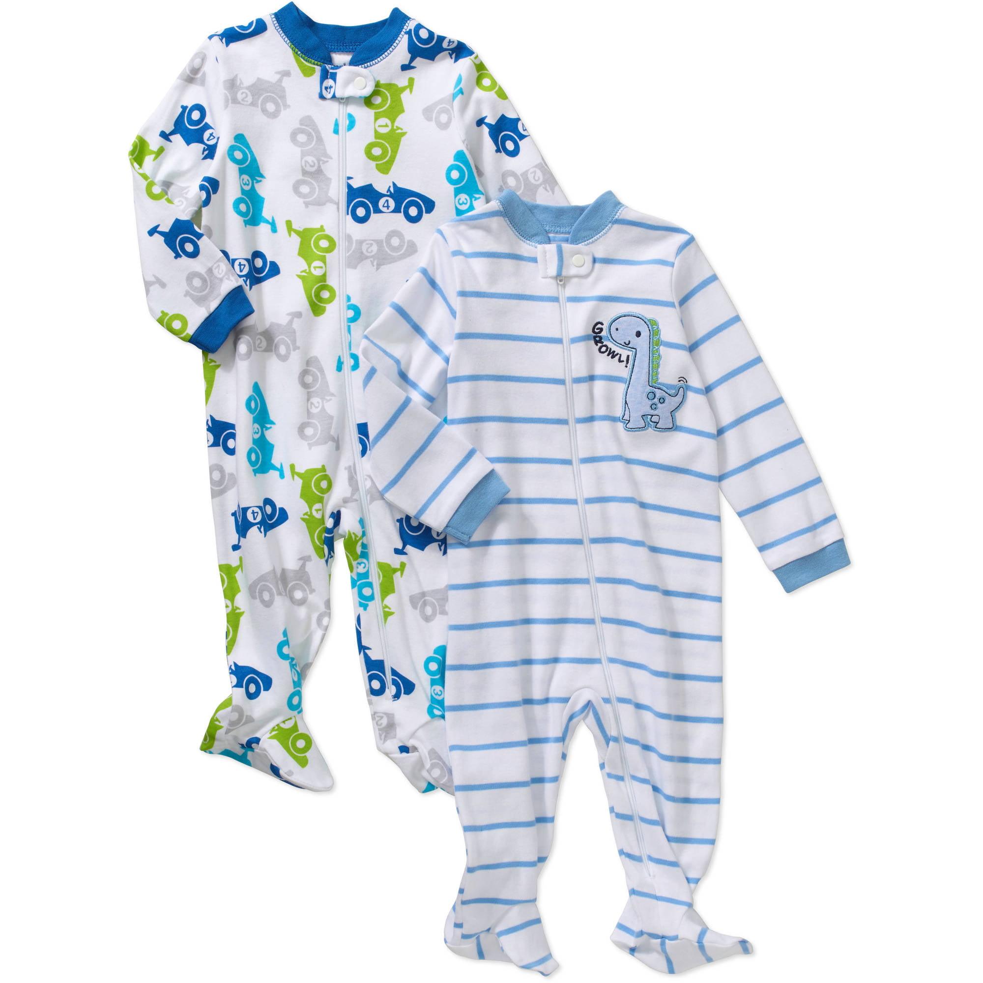Garanimals Newborn Baby Boy Cotton Sleep n' Play, 2-Pack