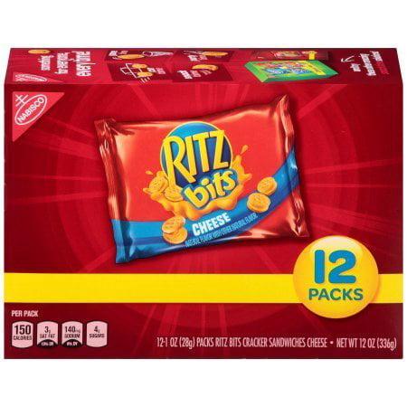 (2 Pack) Ritz Bits Cheese Cracker Sandwiches Snack Packs, 12.0 Oz
