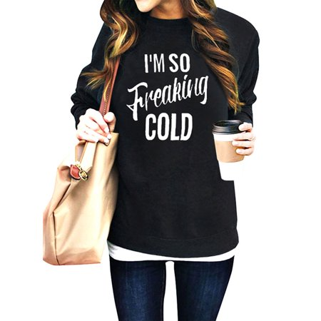 ZXZY Women Long Sleeves Solid Color Letter Print Round Neck Casual Pullover Sweatshirt Tops ()