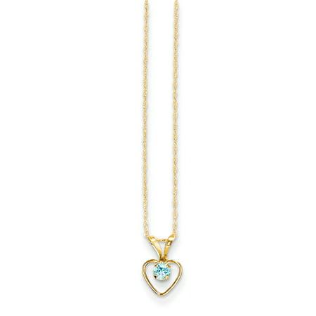 14k Madi K 3mm Blue Zircon Heart Birthstone Necklace