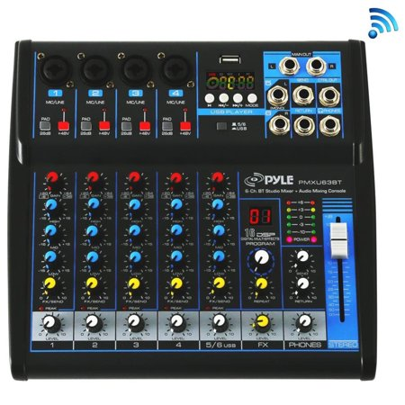 Pyle Professional Audio Mixer Sound Board Console - Desk System Interface with 6 Channel, USB, BT, MP3 Computer Input, 48V Phantom Power, Stereo DJ Streaming & FX16 Bit DSP