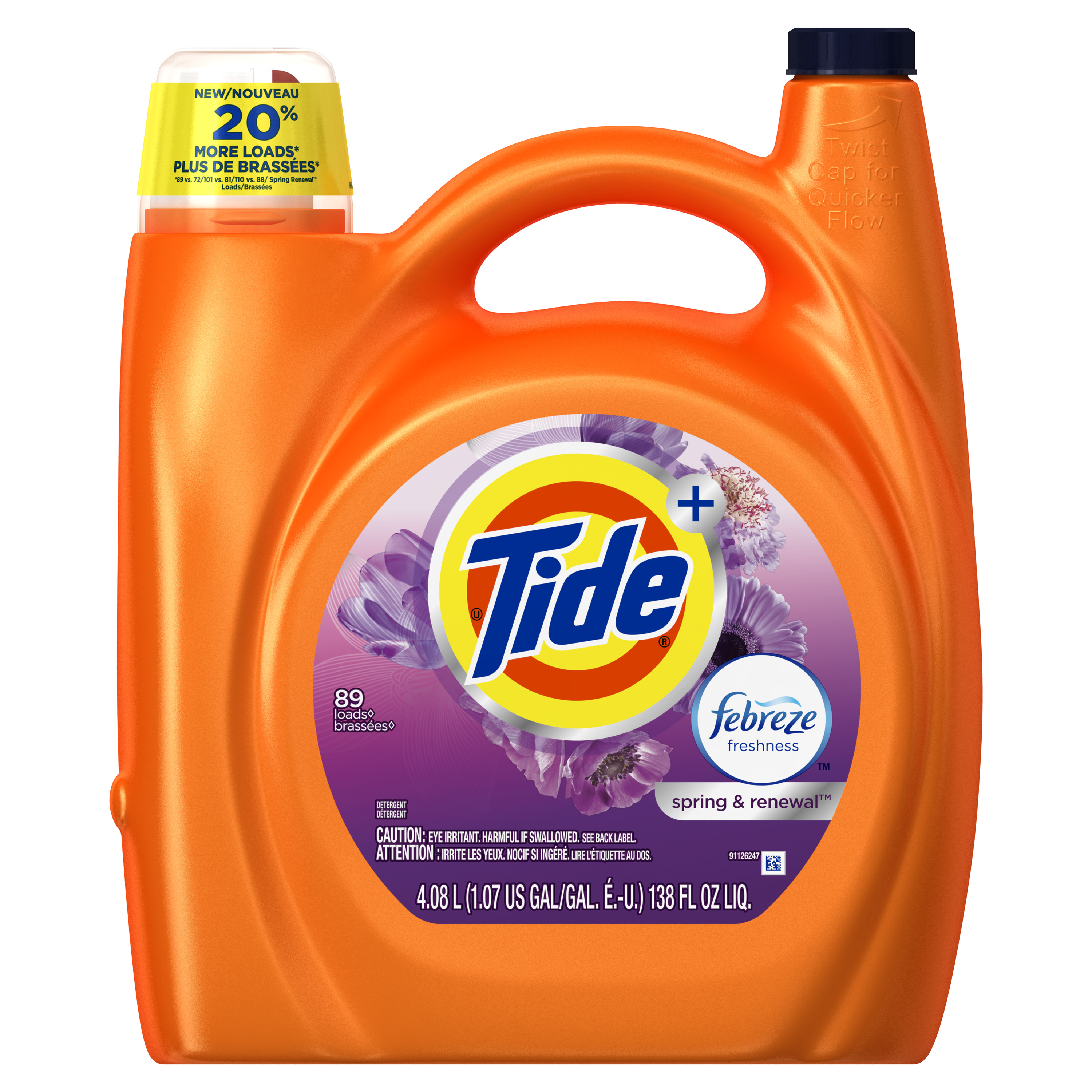 Tide Plus Febreze Freshness Spring and Renewal Scent Liquid Laundry Detergent, 138 oz, 89 loads