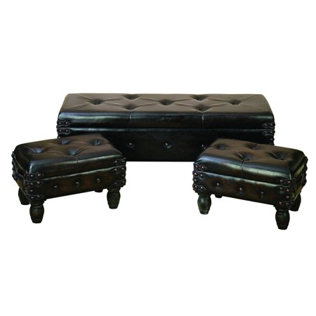 Decmode Set of 3 traditional 20, 20, and 48 inch faux leather and wood tufted rectangular benches, Dark Brown