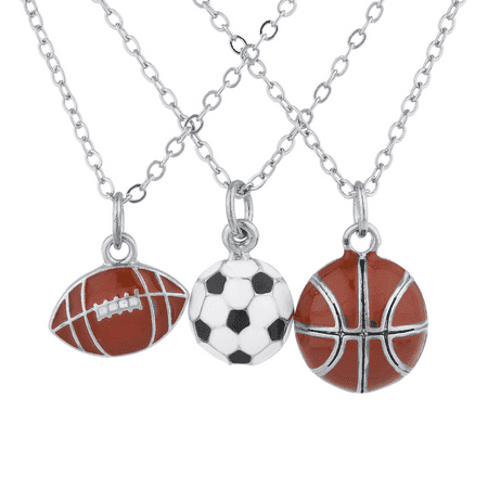 Lux Accessories Silvertone Football soccer ball Basketball Charm Necklaces 3PCS ()