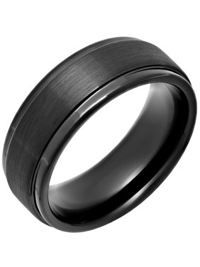 Product Image Steel Nation Jewelry Men S Black Ip Tungsten 8mm Step Edge Comfort Fit Wedding Band Mens