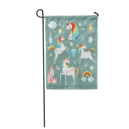 LADDKE Pink Rainbow Unicorn Fairy Magic Collection Flat Fairytale Garden Flag Decorative Flag House Banner 12x18 inch