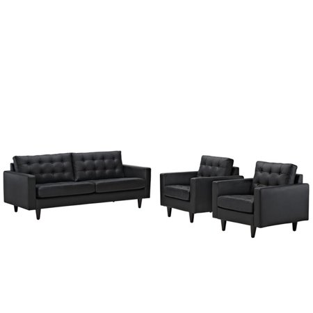 Modway Empress 3 Piece Leather Tufted Sofa Set in Black - Walmart.com