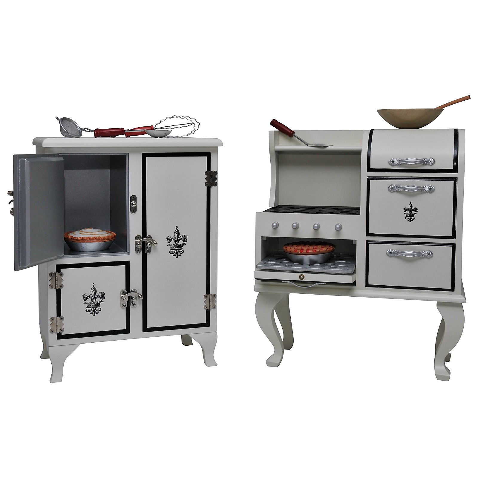 The Queen's Treasures American Vintage Stove & Fridge Furniture + Kitchen Tool & Food Accessory Play Set for 18 Inch Girl Dolls