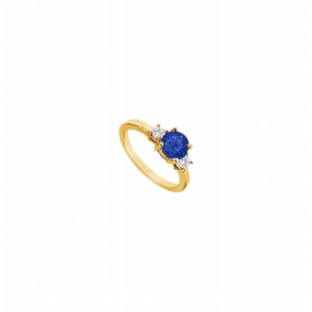 Sapphire & Diamond Engagement Ring 14K Yellow Gold, 1.25 CT - Size 9