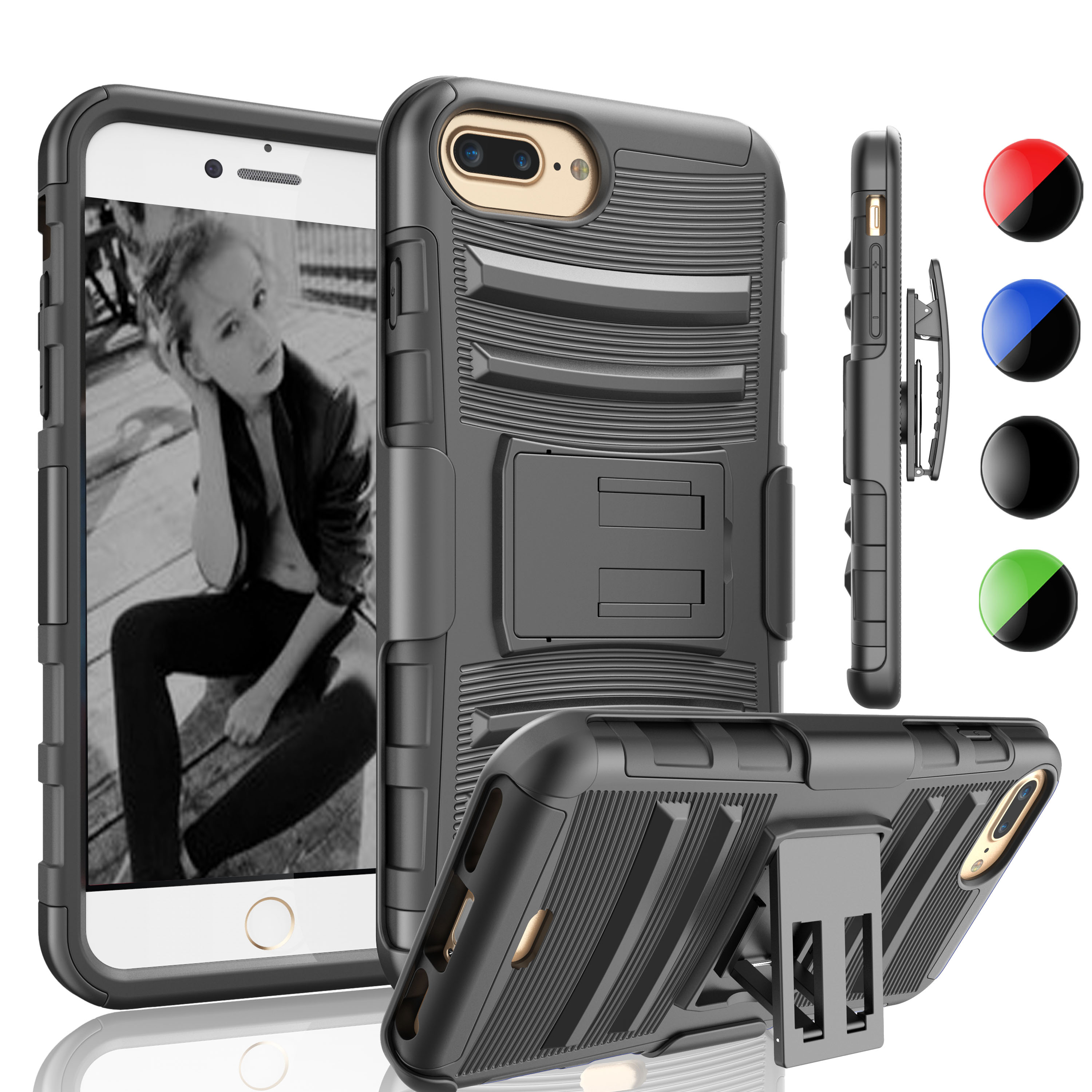 Apple iPhone 7 Plus / iPhone 8 Plus / iPhone 7 / iPhone 8 Case Holster Belt Clip, Njjex [Heavy Duty] Armor Shock Proof [Belt Clip] Holster [Kickstand] Combo Rugged Protective Cases Cover