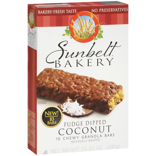 Sunbelt Bakery Fudge Dipped Coconut Chewy Granola Bars, 10 count