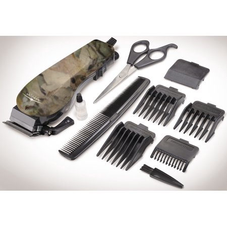 10 Piece Camouflage Hair Clipper Set With Adjustable Guard Comb And