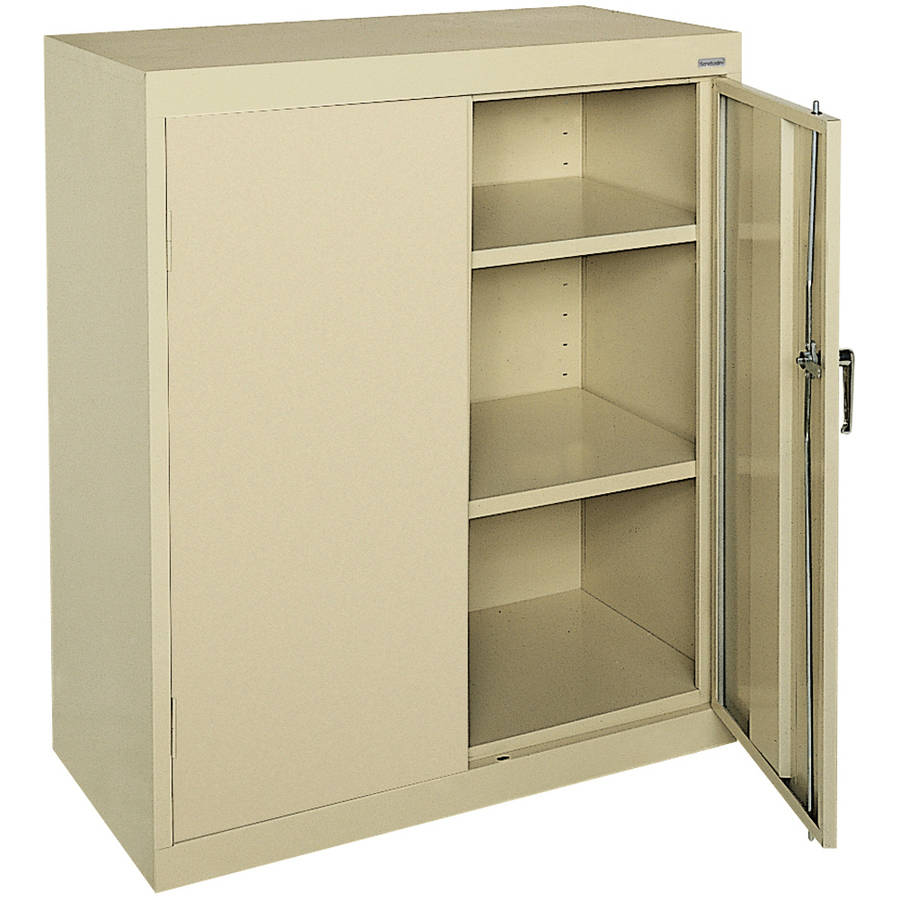 "Classic Series 36""W x 42""H x 24""D Counter Height Storage Cabinet with Adjustable Shelves, Putty"