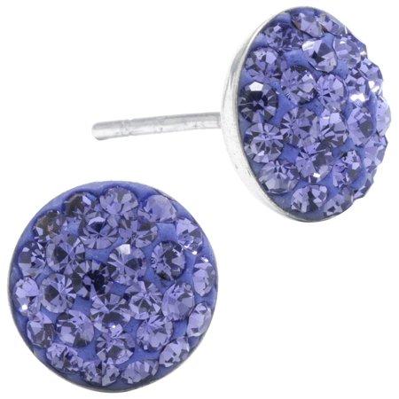 Sterling Earrings Pave Purple Crystal Elements Earrings Purple