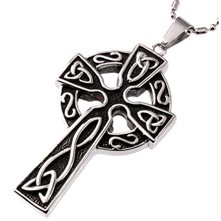 R.H. Jewelry Stainless Steel Pendant High Celtic Knots Cross (Celtic Cross Pendant Jewelry)