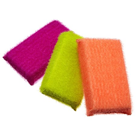 Casabella Scrub Sponge, 3-Pack, Assorted Colors (11395) Peach/Lime/Coral 1