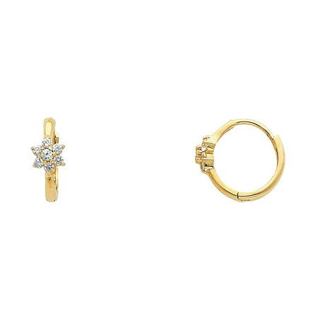 FB Jewels 14K Yellow Gold White Star Shaped Flower Cubic Zirconia CZ Huggie Endless Hoop Womens Earrings 10MM X (14k White Gold Star Earrings)