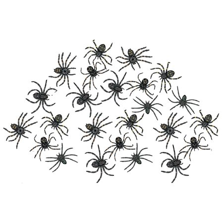 Stretchy Spider 2 Inches - Pack Of 24 – Black With Assorted Colors Dots – For Kids Great Party Favors, Bag Stuffers, Fun, Prank, Halloween, Toy, Gift, Prize, Piñata Fillers - By Kidsco