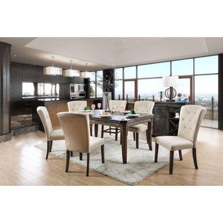 Furniture Of America Tuscher 7 Piece Transitional Dining Table Set Dark Oak